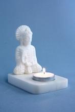 Kerzenhalter - Buddha weißer Speckstein