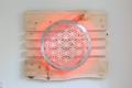 Lebensblume-Lampe mit Zirbenholz - Gesamtmaß 120 x 75cm