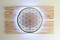 Lebensblume-Lampe mit Zirbenholz - Gesamtmaß 200 x 110cm