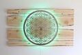 Lebensblume-Lampe mit Zirbenholz - Gesamtmaß 200 x 160cm