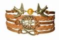 Armband - 3-Symbole, Lederoptik braun
