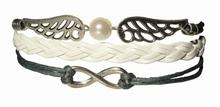 Armband - 2-Symbole, Lederoptik weiß / grau
