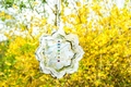 Mobile, Chakra Lotus - Edelstahl mit 7 Kristallen