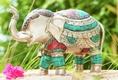 Elefant aus Messing versilbert m. Türkis- und Korallesteine