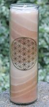 Blume des Lebens - Kerze im Glas braun  21 cm