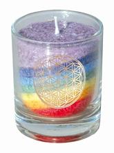 Blume des Lebens - Kerze im Glas regenbogen 7 cm