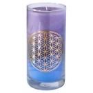 Blume des Lebens - Kerze im Glas Sky 14 cm