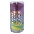 Blume des Lebens - Kerze im Glas Earth 14 cm