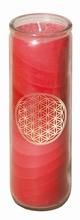Blume des Lebens - Kerze im Glas rot 21 cm