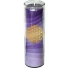 Blume des Lebens - Kerze im Glas violett 21 cm