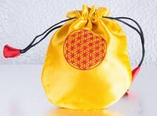 Satin Beutel - Blume des Lebens - gelb