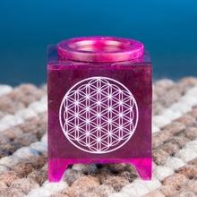 Aromalampe aus Speckstein - Blume des Lebens - violett