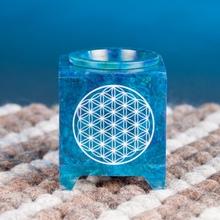 Aromalampe aus Speckstein - Blume des Lebens - blau