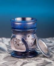 Aromalampe und Siebgefäß in Einem - keltischer Knoten - blau