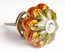 Türknauf grün - gelb - rot - 4.5 cm, Keramik