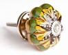 Türknauf braun - grün - gelb - 4.5 cm, Keramik