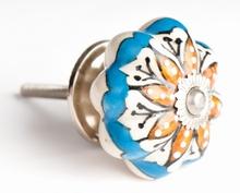 Türknauf braun - weiß - blau - 4.5 cm, Keramik