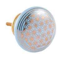 Türknauf - Blume des Lebens - hellblau - Keramik